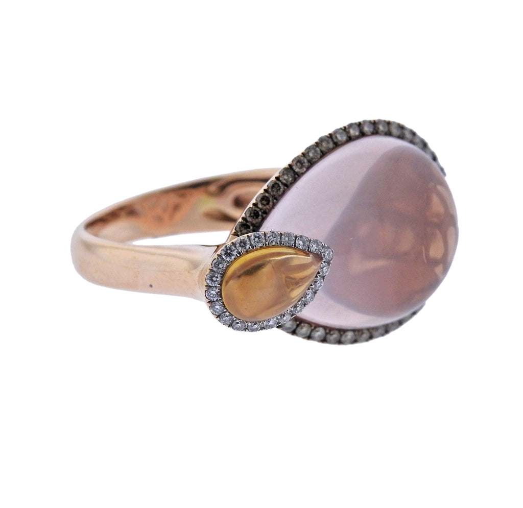 thumbnail image of Rose Quartz Citrine Diamond Gold Ring