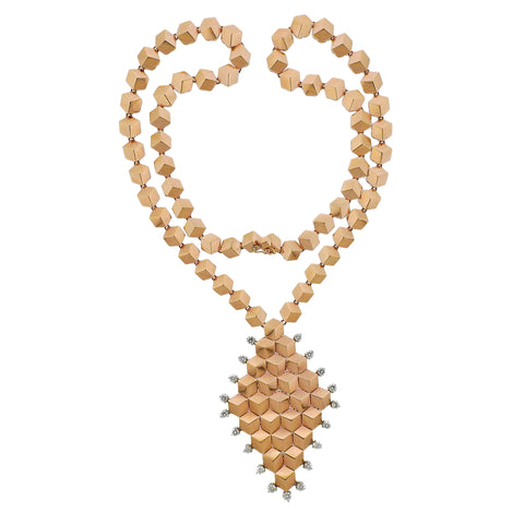 image of Paolo Costagli Diamond Rose Gold Pendant Necklace