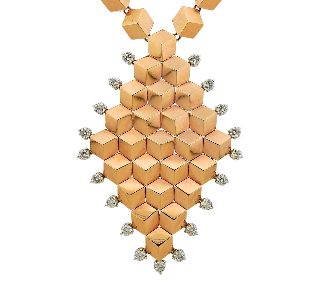 thumbnail image of Paolo Costagli Diamond Rose Gold Pendant Necklace