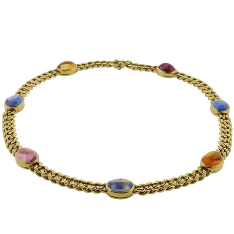 Bulgari Classic Gold Sapphire Citrine Tourmaline Necklace
