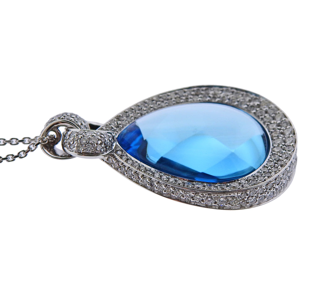 thumbnail image of Chimento 18k Gold Diamond Blue Topaz Teardrop Pendant Necklace