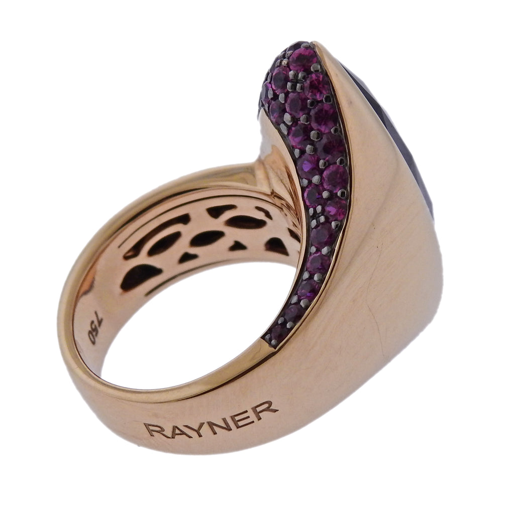 thumbnail image of Rodney Rayner Amethyst Pink Sapphire Gold Ring