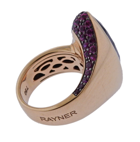 image of Rodney Rayner Amethyst Pink Sapphire Gold Ring