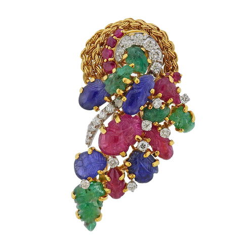 image of Kutchinsky Emerald Ruby Sapphire Diamond Gold Brooch Pin