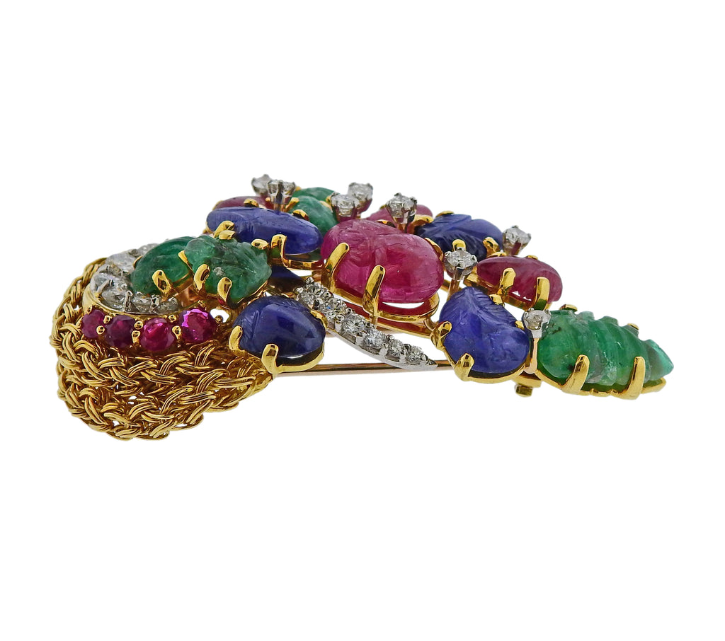 thumbnail image of Kutchinsky Emerald Ruby Sapphire Diamond Gold Brooch Pin