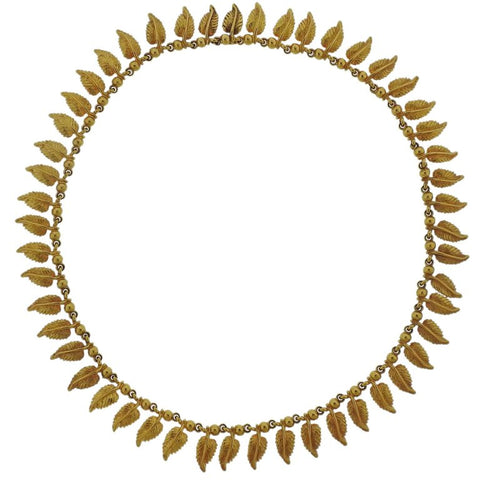 image of Midcentury Gold Leaf Motif Necklace