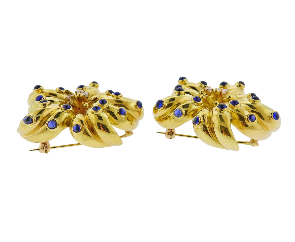 thumbnail image of Tiffany & Co Sapphire Diamond Gold Brooch Set