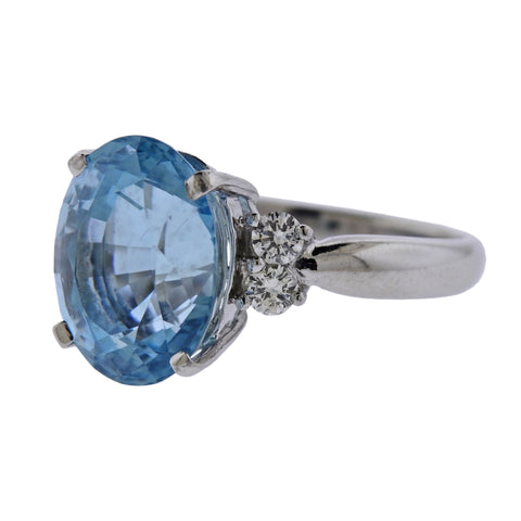 image of 7.89ct Aquamarine Diamond Platinum Ring