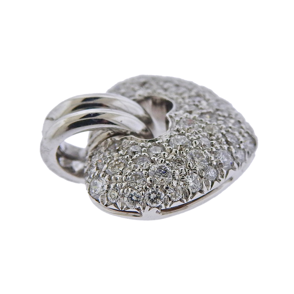 thumbnail image of Chimento 18k White Gold All Diamond Small Heart Pendant Charm