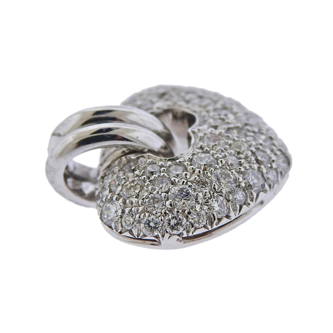 image of Chimento 18k White Gold All Diamond Small Heart Pendant Charm