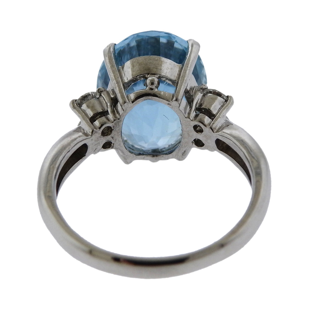 thumbnail image of 7.89ct Aquamarine Diamond Platinum Ring
