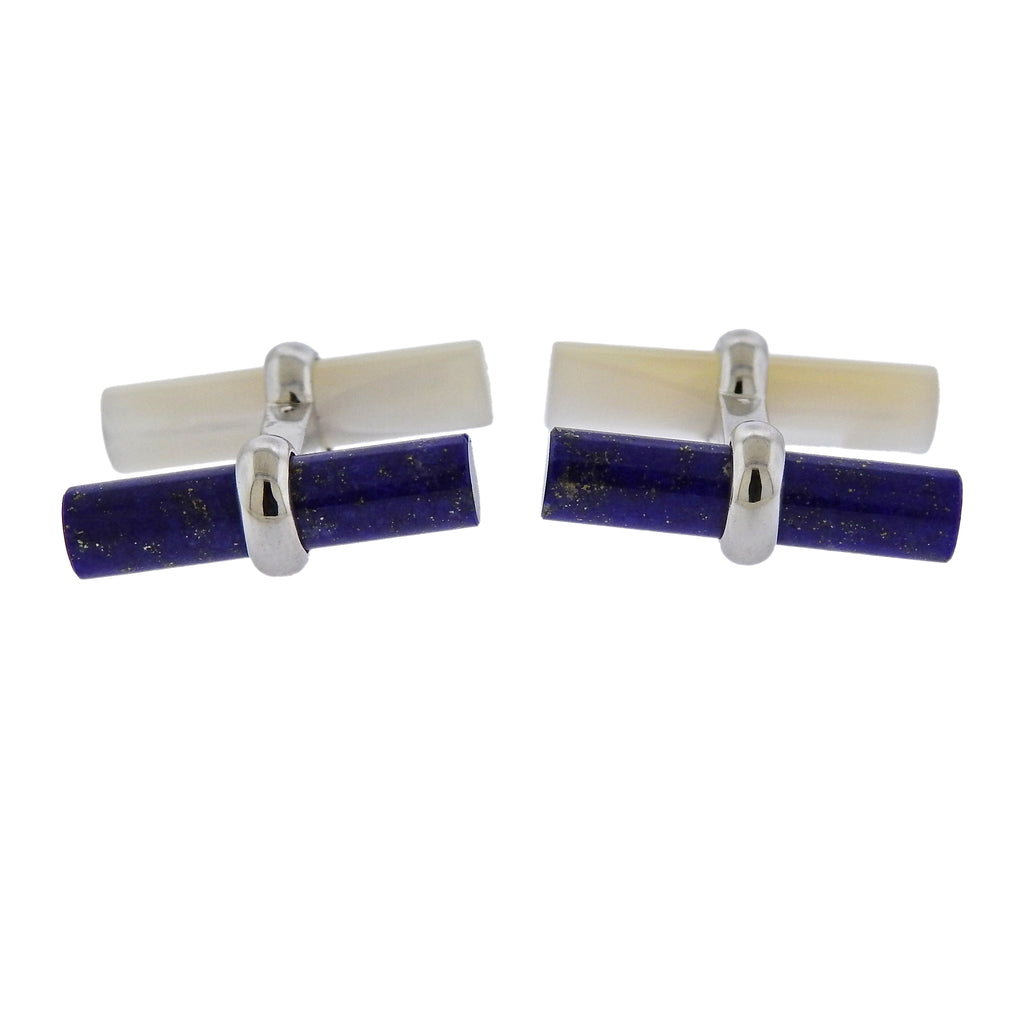 thumbnail image of Van Cleef & Arpels Lapis Mother of Pearl Gold Cufflinks