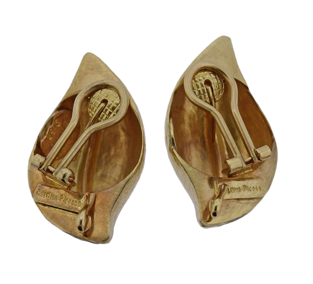thumbnail image of Tiffany & Co Paloma Picasso Hammered Gold Earrings