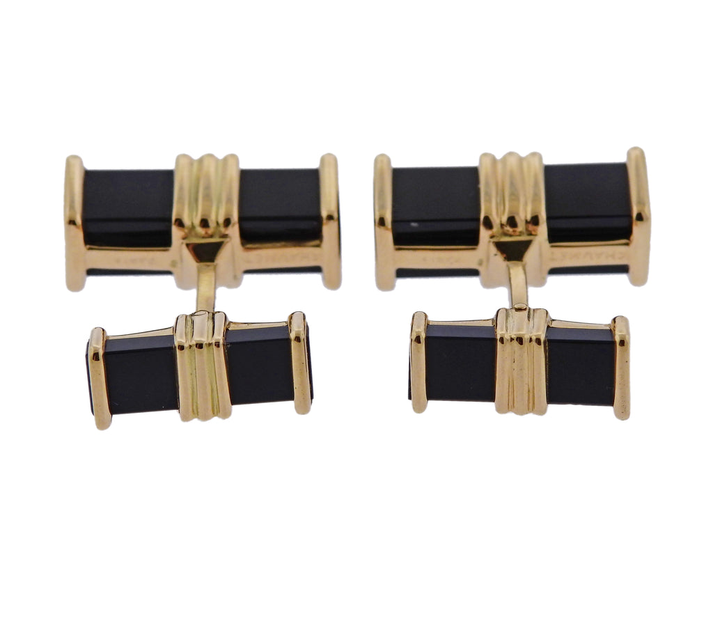 thumbnail image of Chaumet Paris Onyx Gold Cufflinks