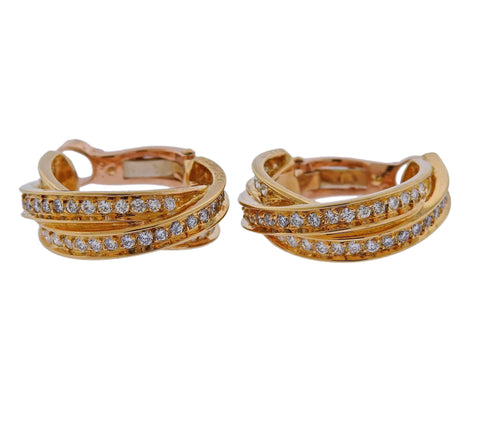 image of Cartier Diamond Gold Trinity Hoop Earrings