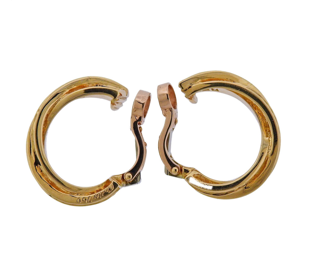thumbnail image of Cartier Diamond Gold Trinity Hoop Earrings