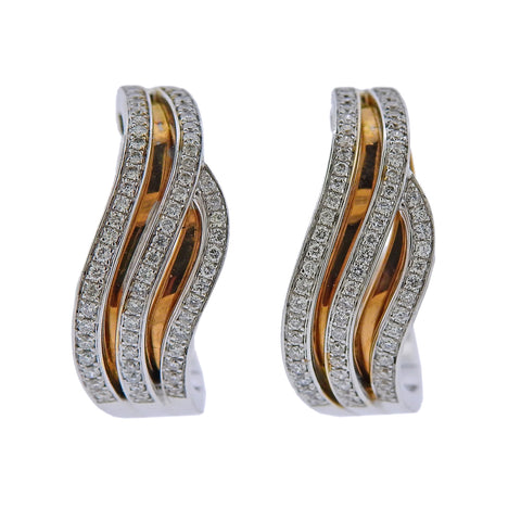image of Chimento 18k White Rose Gold Diamond Wave Hoop Earrings
