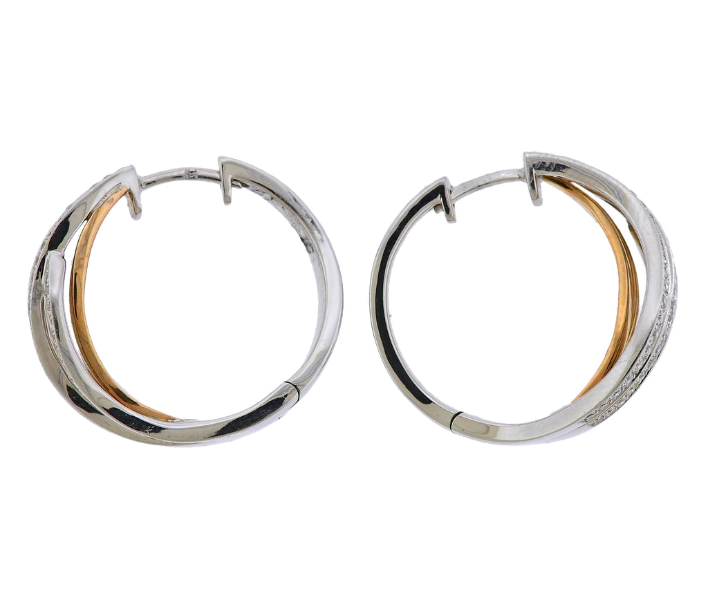 thumbnail image of Chimento 18k White Rose Gold Diamond Wave Hoop Earrings