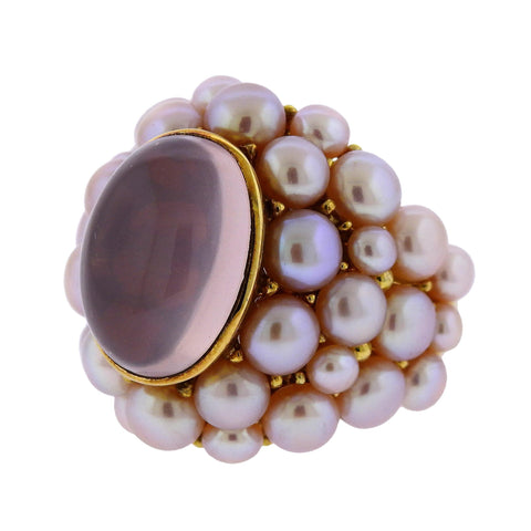 image of Mimi Rose Quartz Pearl Gold Cocktail Ring