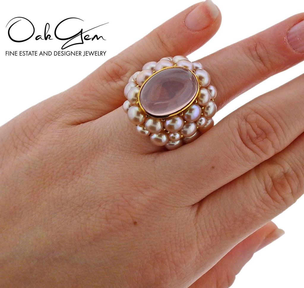 thumbnail image of Mimi Rose Quartz Pearl Gold Cocktail Ring