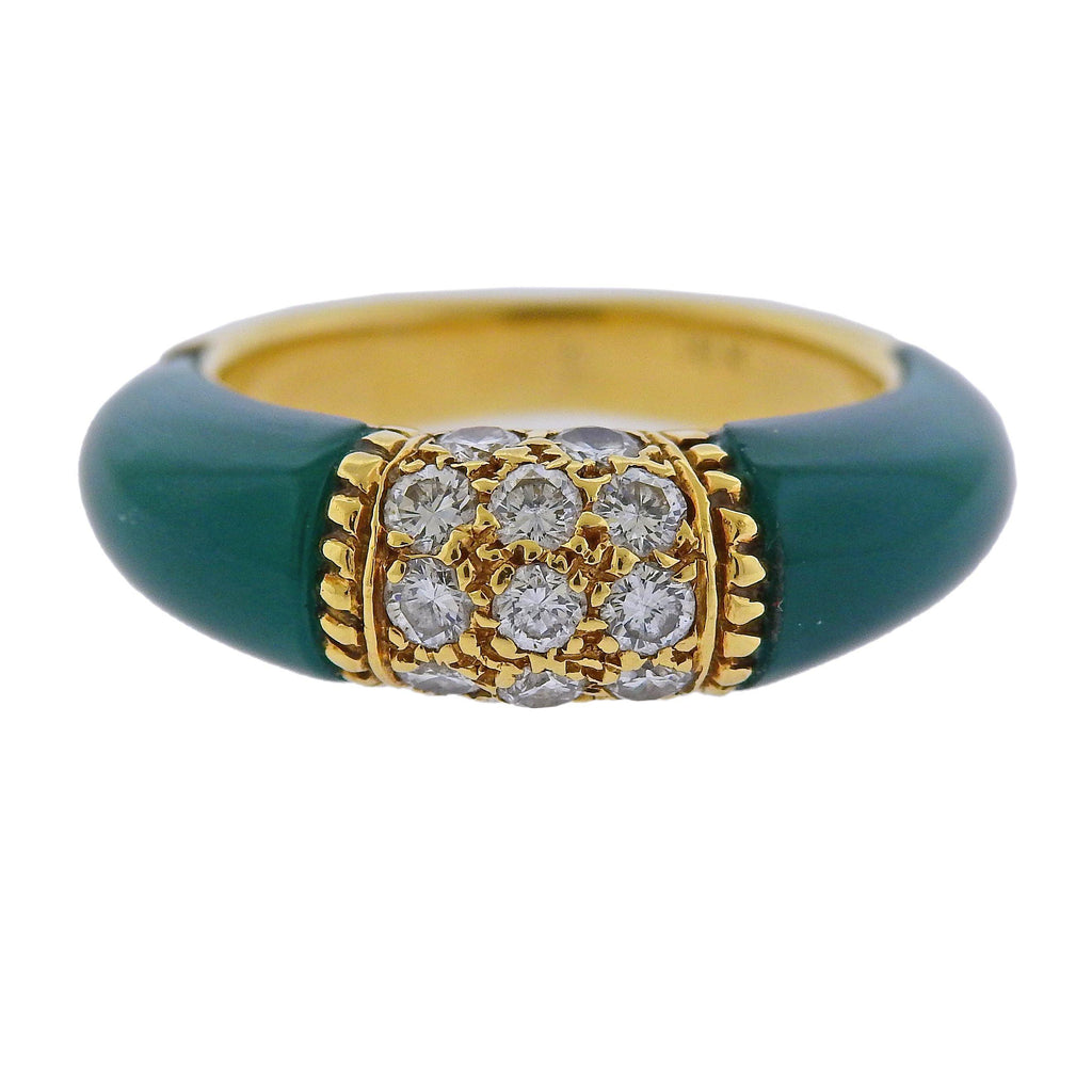 thumbnail image of Van Cleef & Arpels 1970s Chrysoprase Diamond Gold Ring