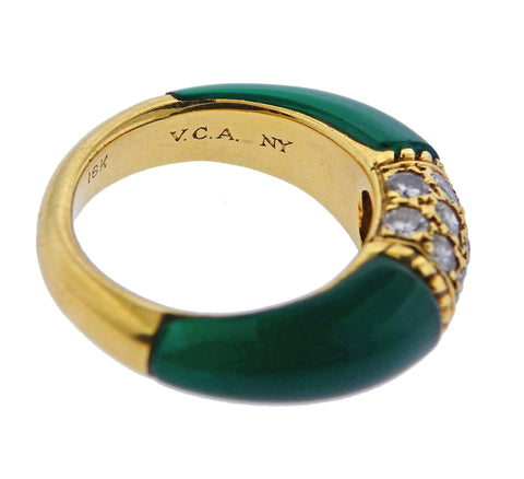 image of Van Cleef & Arpels 1970s Chrysoprase Diamond Gold Ring