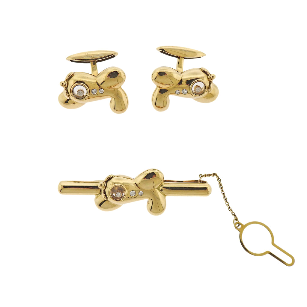 thumbnail image of Chopard Gold Plane Diamond Cufflinks Tie Bar Set