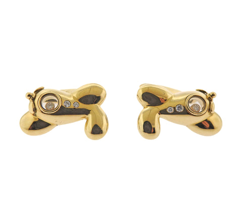 image of Chopard Gold Plane Diamond Cufflinks Tie Bar Set