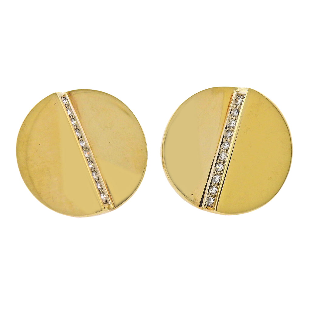 thumbnail image of Aldo Cipullo 1970s Diamond Gold Earrings