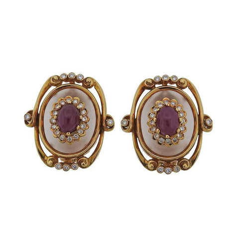 Ilias Lalounis Greece Gold Frosted Crystal Diamond Ruby Earrings