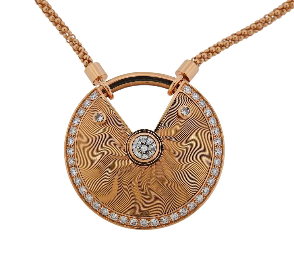 thumbnail image of Cartier Amulette Diamond Rose Gold Pendant Necklace