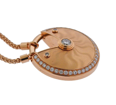 image of Cartier Amulette Diamond Rose Gold Pendant Necklace