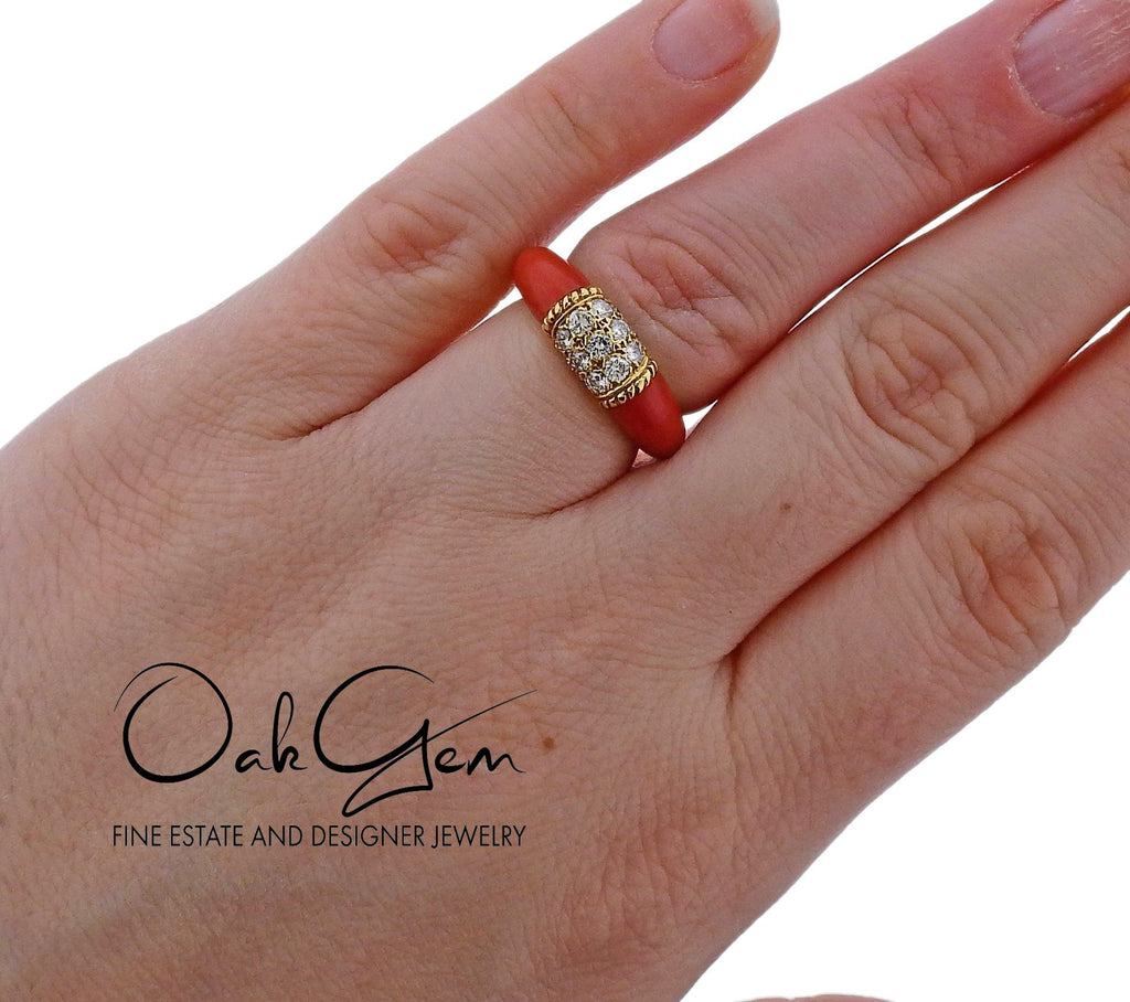 thumbnail image of Van Cleef & Arpels 1970s Coral Diamond Gold Ring
