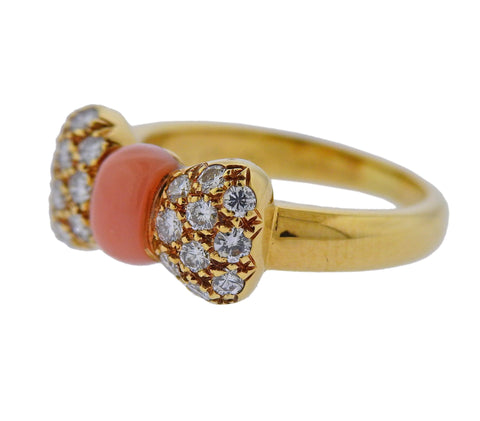 image of Van Cleef & Arpels Coral Diamond Gold Bow Ring