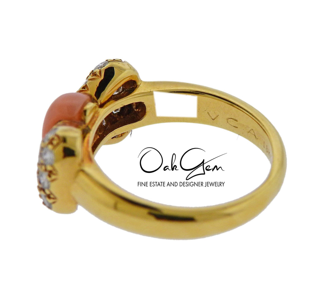thumbnail image of Van Cleef & Arpels Coral Diamond Gold Bow Ring
