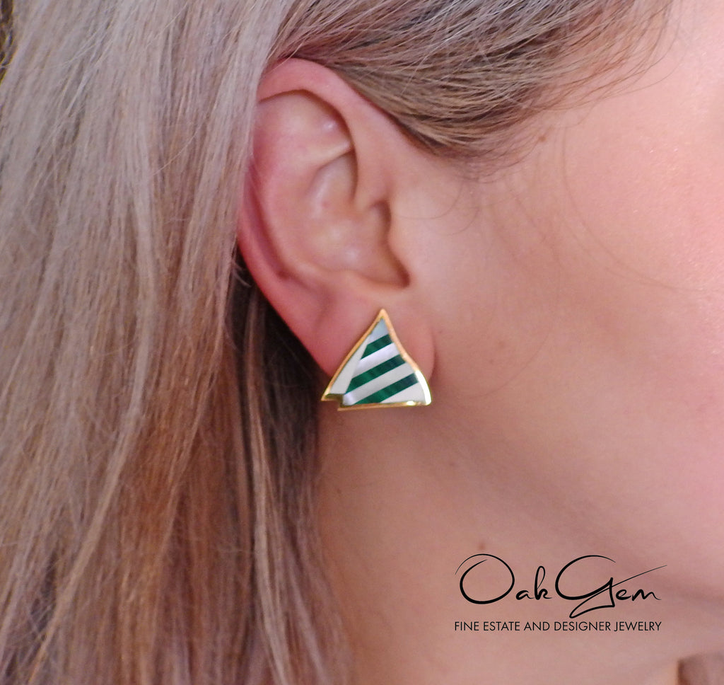 thumbnail image of Tiffany & Co Inlay Malachite Mother of Pearl Gold Earrings