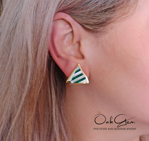 image of Tiffany & Co Inlay Malachite Mother of Pearl Gold Earrings