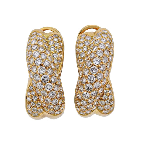 image of Cartier Diamond Gold Crossover Earrings