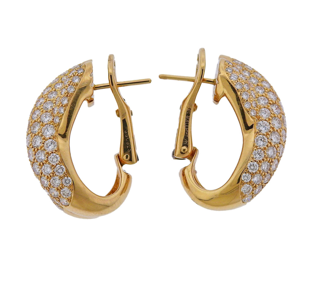 thumbnail image of Cartier Diamond Gold Crossover Earrings