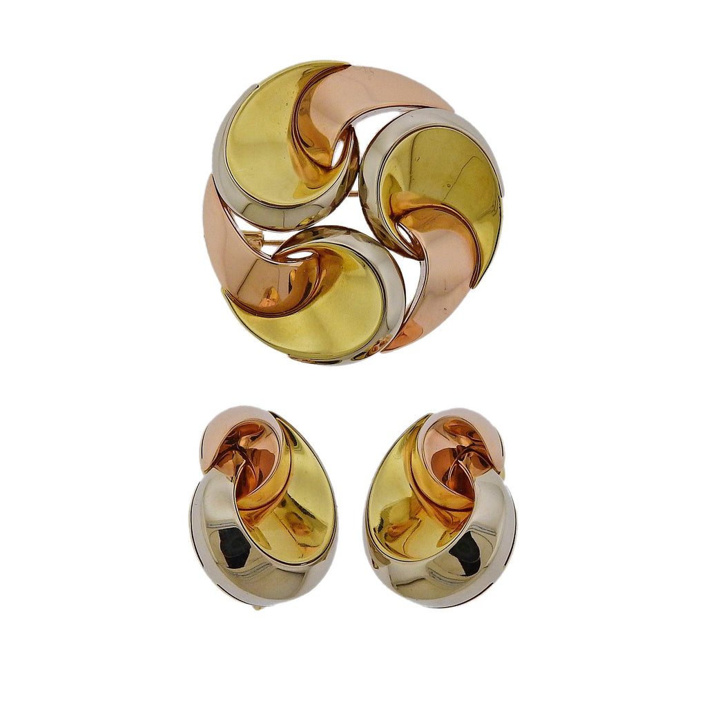 thumbnail image of Marina B Tri Color Gold Swirl Earrings Brooch Set