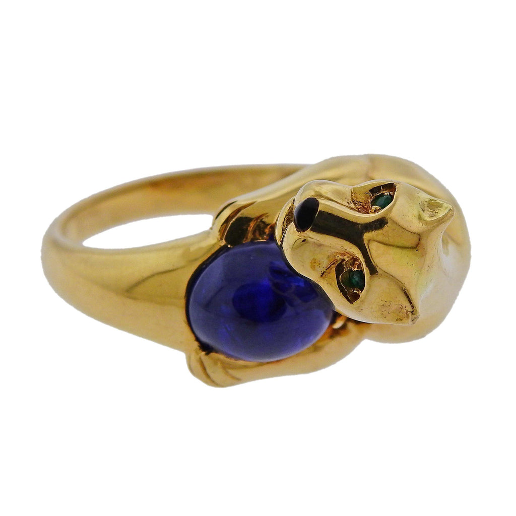 thumbnail image of Cartier Panthere Sapphire Emerald Onyx Gold Ring
