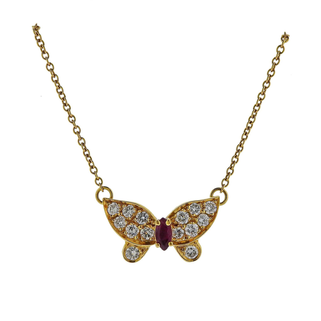 thumbnail image of Van Cleef & Arpels Diamond Ruby Gold Butterfly Pendant Necklace