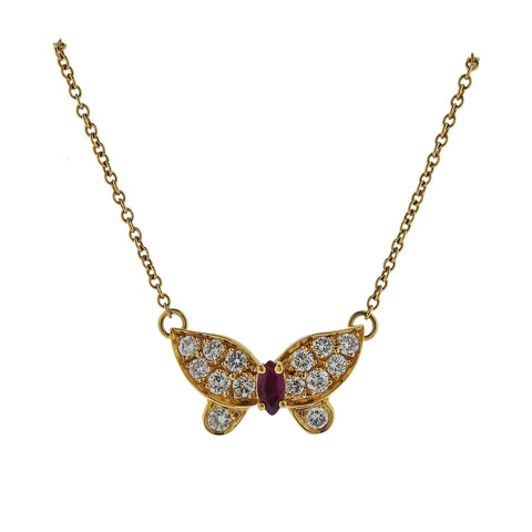 image of Van Cleef & Arpels Diamond Ruby Gold Butterfly Pendant Necklace