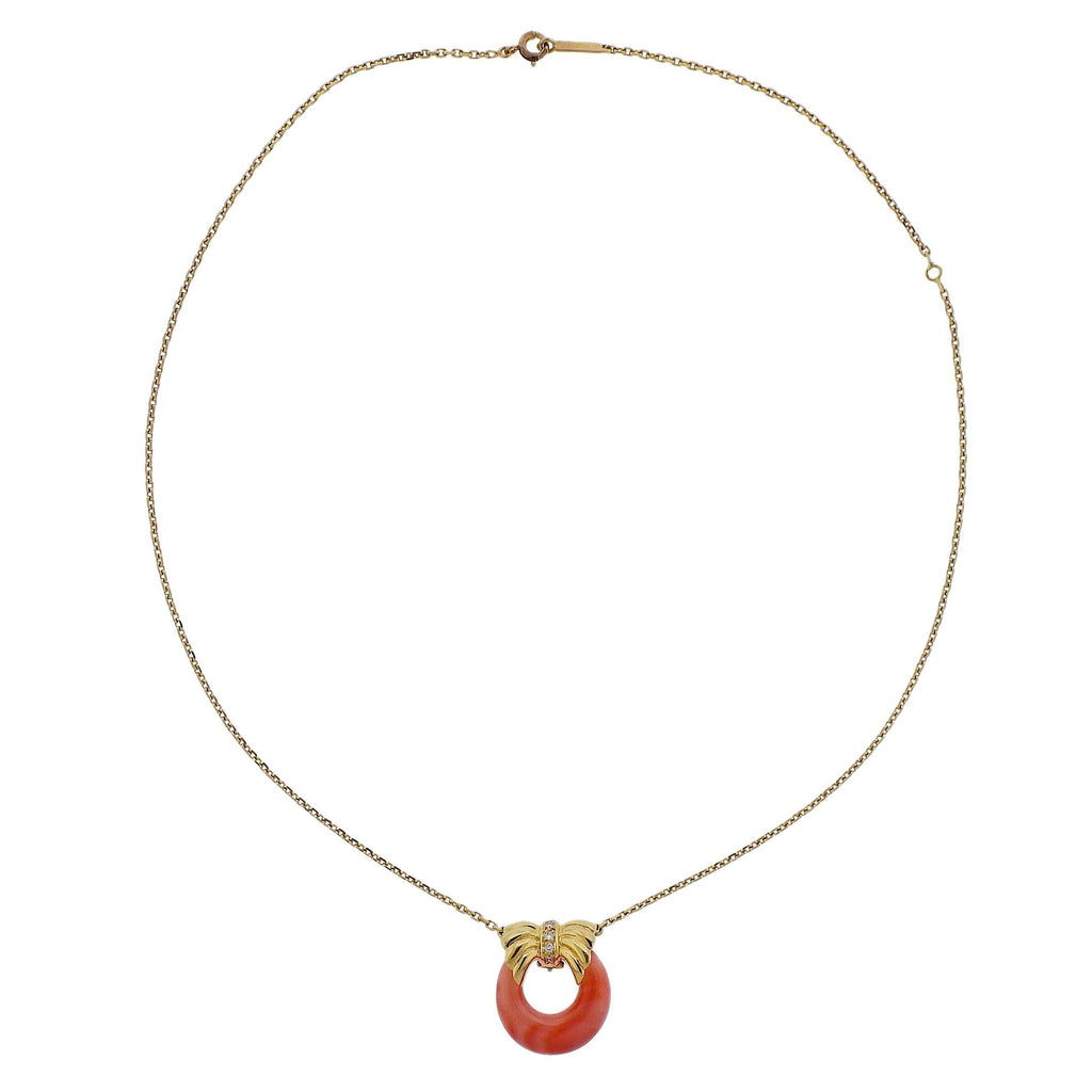 thumbnail image of Van Cleef & Arpels Diamond Coral Gold Pendant Necklace