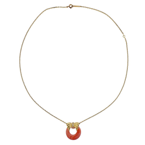 image of Van Cleef & Arpels Diamond Coral Gold Pendant Necklace