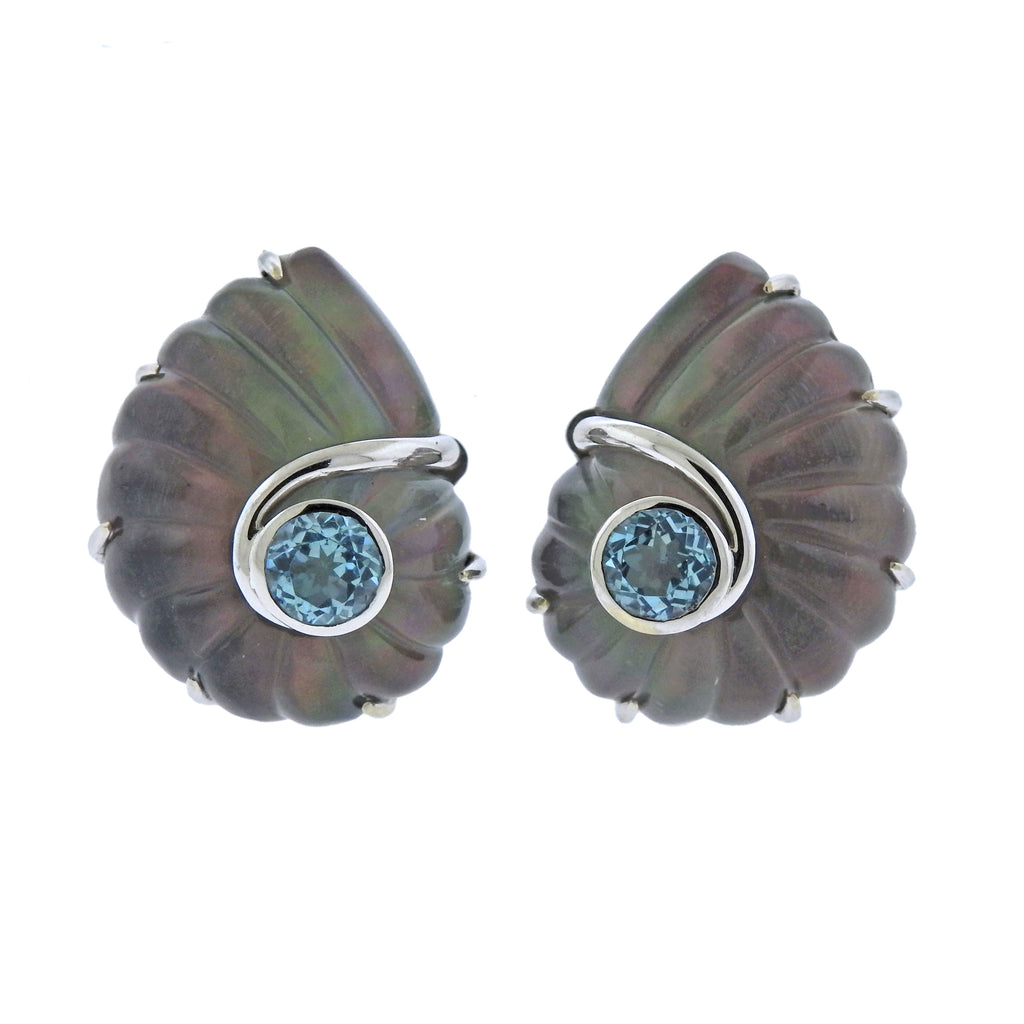 thumbnail image of Trianon Nautilus Crystal Topaz Mother of Pearl Gold Earrings