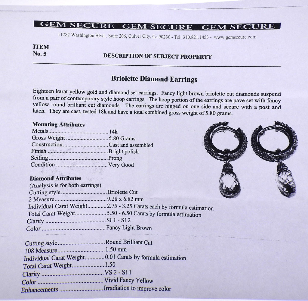 thumbnail image of Gold 7.00cwt Fancy Diamond Briolette Hoop Night & Day Earrings