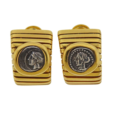 image of Bulgari Monete Ancient Coin Gold Tubogas Earrings