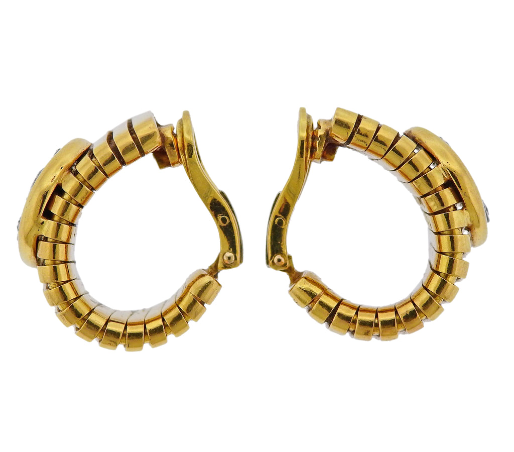 thumbnail image of Bulgari Monete Ancient Coin Gold Tubogas Earrings