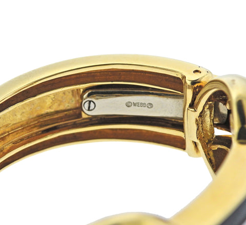image of David Webb Diamond Enamel Gold Platinum Bracelet